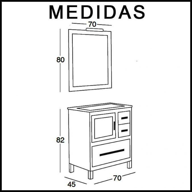 Medidas Mueble de Baño Mar 70 cm.