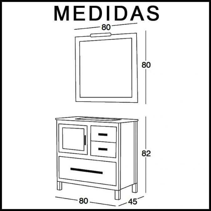 Medidas Mueble de Baño Mar 80 cm.