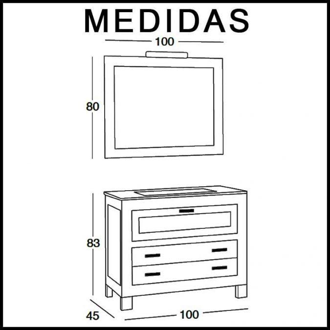 Medidas Mueble de Baño Nerea 100 cm.