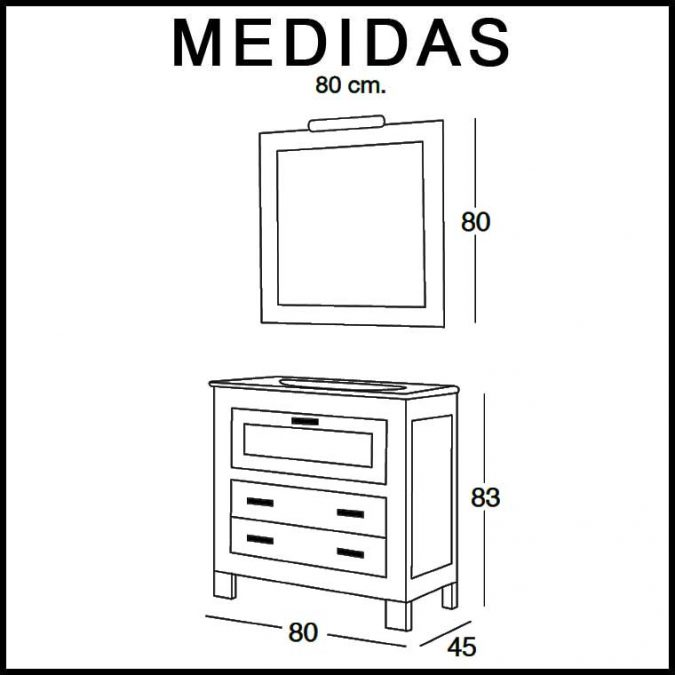 Medidas Mueble de Baño Nerea 80 cm.