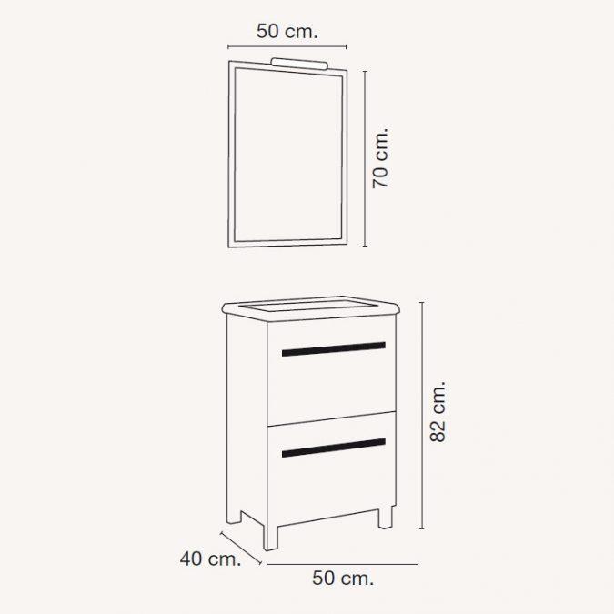 Medidas Mueble de Baño Olaya de 50 x 40 cm.