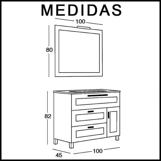 Medidas Mueble de Baño Paula de 100 cm.