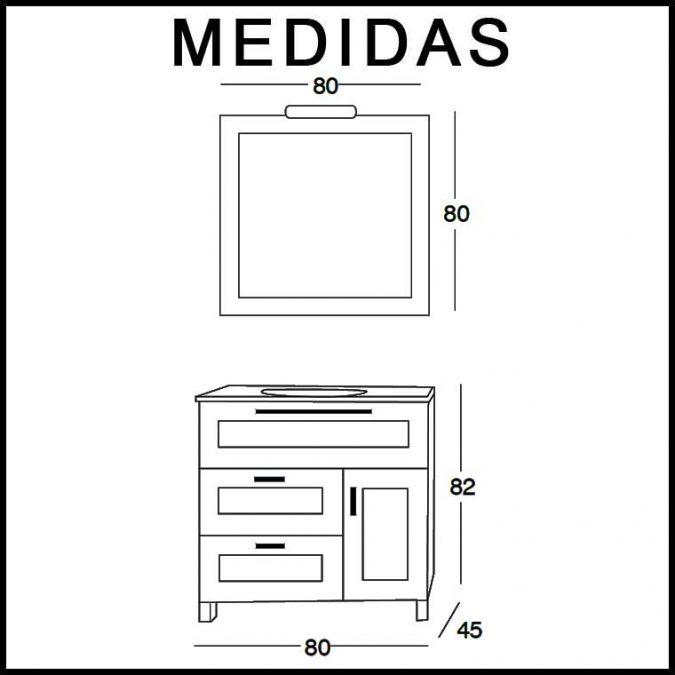 Medidas Mueble de Baño Paula de 80 cm.