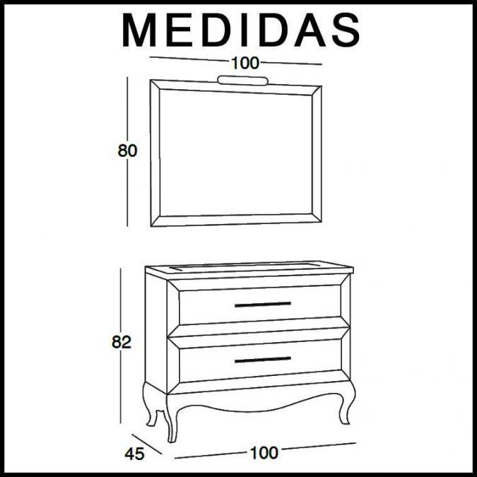 Medidas Mueble de Baño René 100 cm.