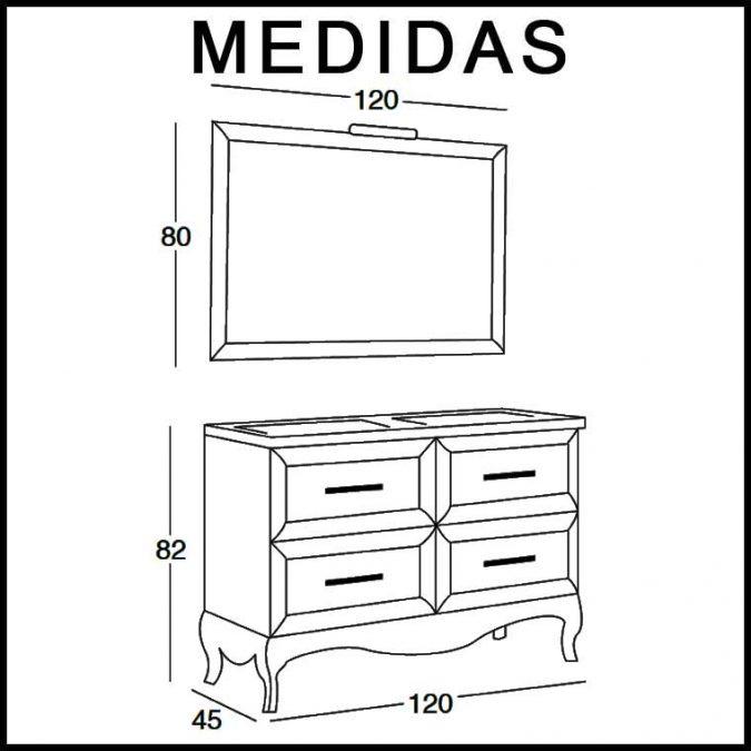 Medidas Mueble de Baño René 120 cm.