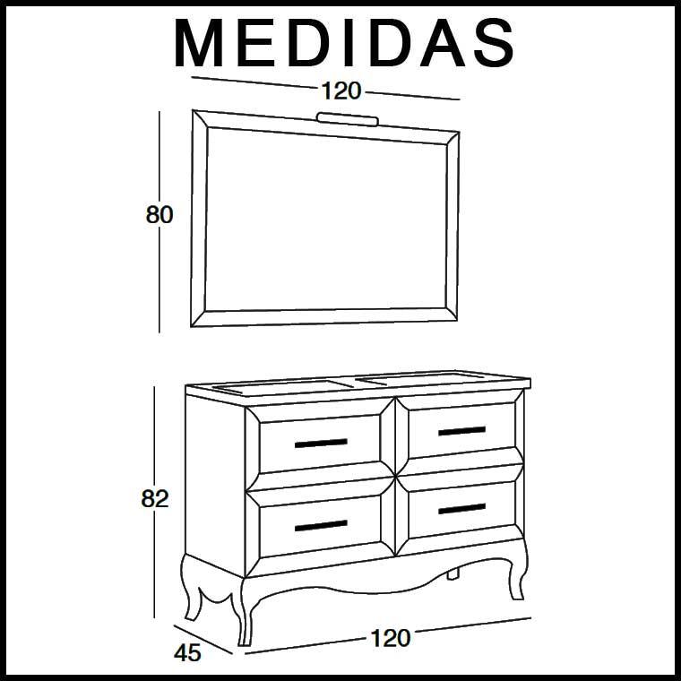 Mueble de ba o ren de 120 cm mueble de la serie de ba o ren - Medidas muebles de bano ...