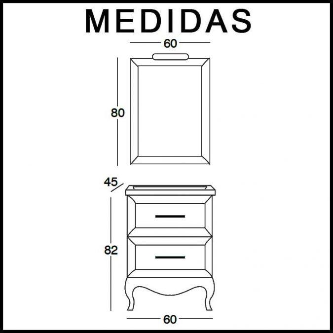 Medidas Mueble de Baño René 60 cm.