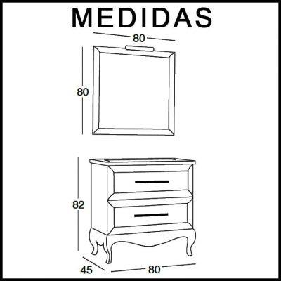Medidas Mueble de Baño René 80 cm.