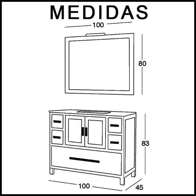 Medidas Mueble de Baño Sara 100 cm.