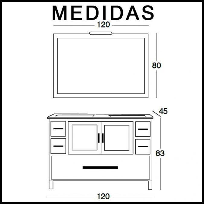 Medidas Mueble de Baño Sara 120 cm.
