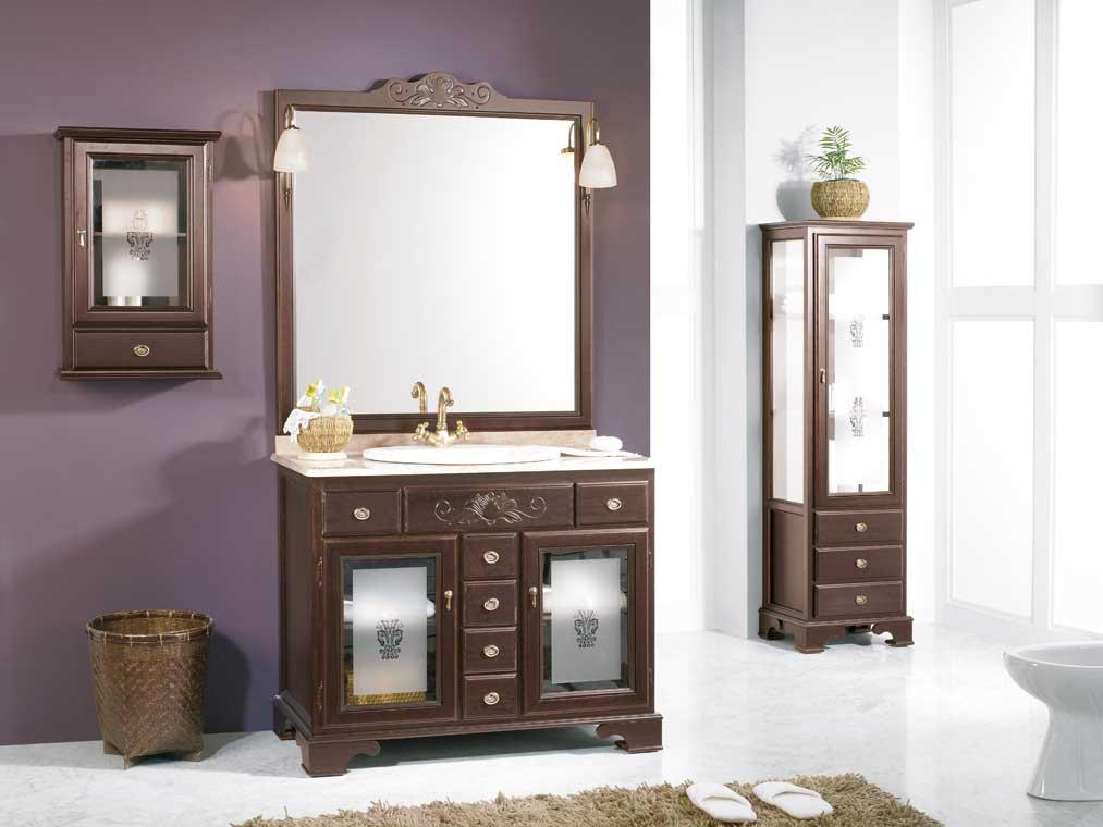 Mueble de ba o talla de 100 x 55 cm mueble de la serie de for Mueble bano rustico blanco