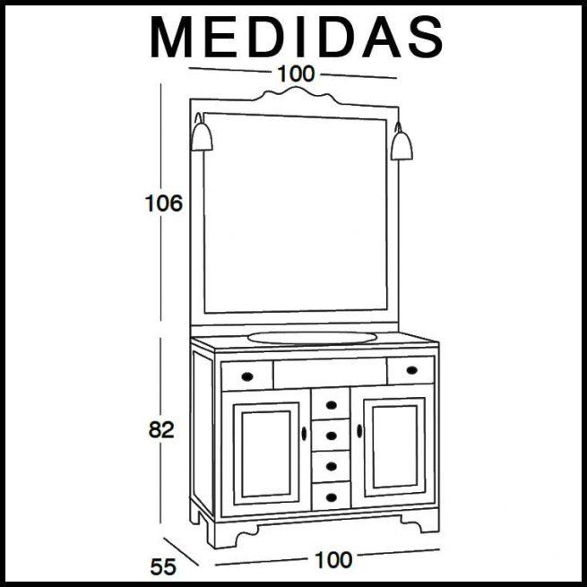 Medidas Mueble de Baño Talla 100 x 55 cm.