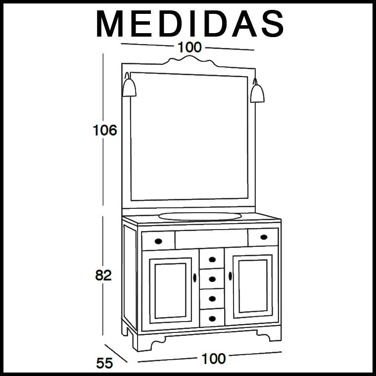 Mueble de ba o talla de 100 x 55 cm mueble de la serie de for Medidas para mueble de computadora