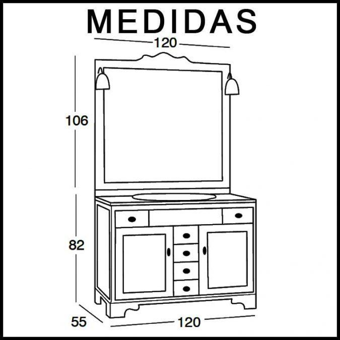 Medidas Mueble de Baño Talla 120 x 55 cm.