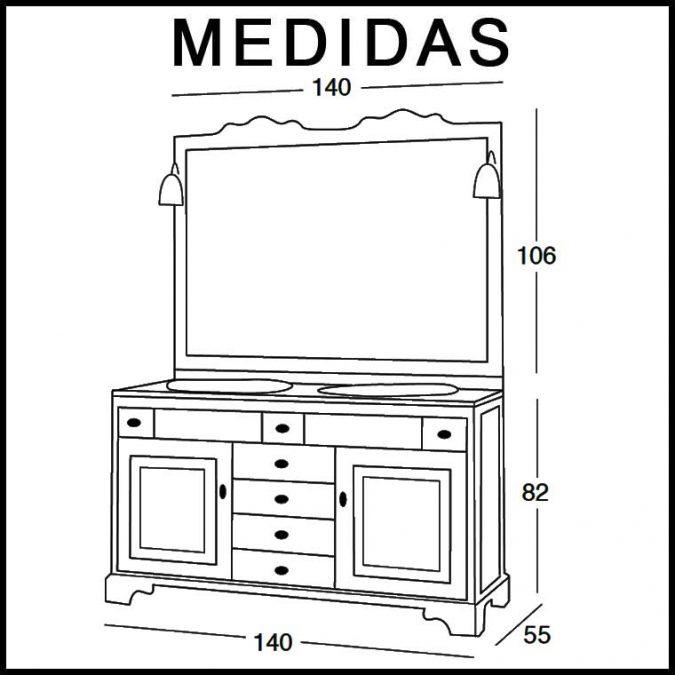 Medidas Mueble de Baño Talla 140 x 55 cm.