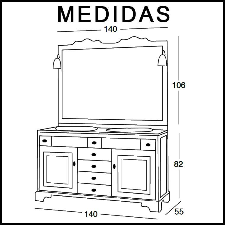 Mueble De Ba O Talla De 140 X 55 Cm Mueble De La Serie De