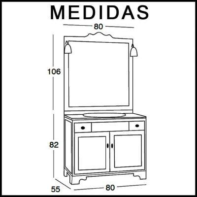 Medidas Mueble de Baño Talla 80 x 55 cm.