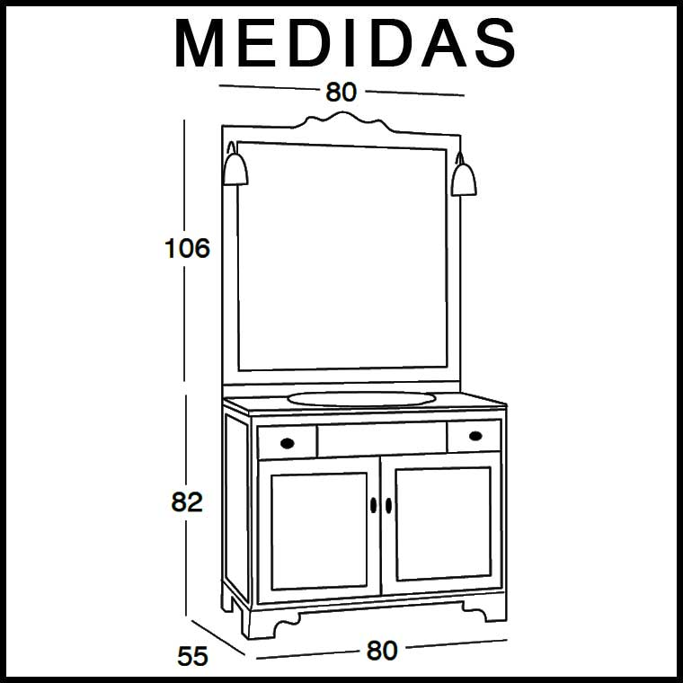 Mueble de ba o talla de 80 x 55 cm mueble de la serie de for Medidas para muebles