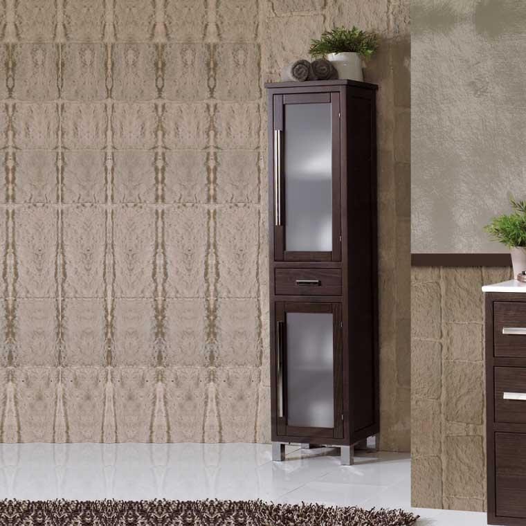 Mueble auxiliar ba o de pie sara armario de la serie de for Muebles auxiliares de bano conforama