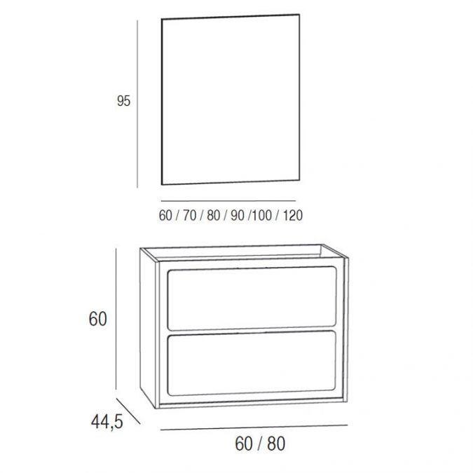 Medidas Mueble de Baño Active 60 x 45 cm.