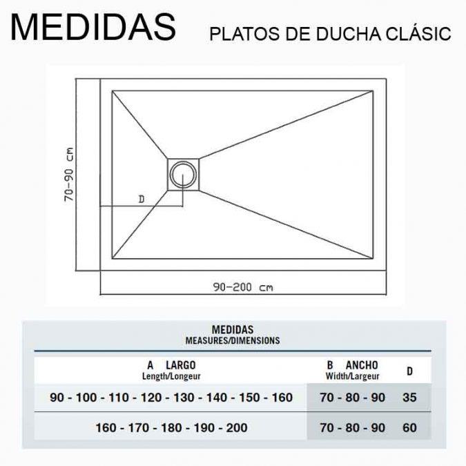 Medidas Platos de Ducha de Resina Clásic