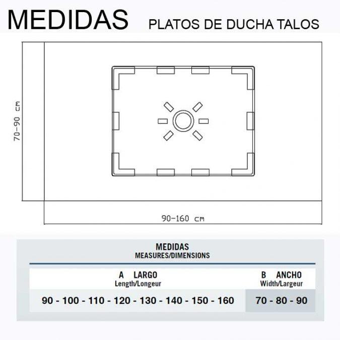 Medidas Platos de Ducha de Resina Talos, con Desagüe oculto.