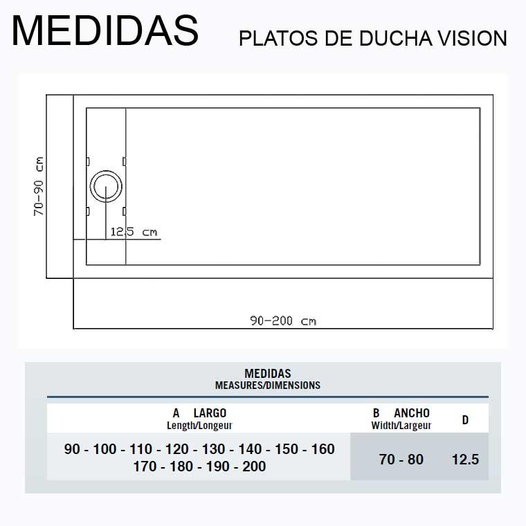 Platos de ducha de resina vision - Medidas de plato de ducha ...