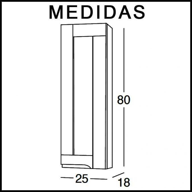 Mueble Auxiliar Baño Colgar Adriana. Medidas
