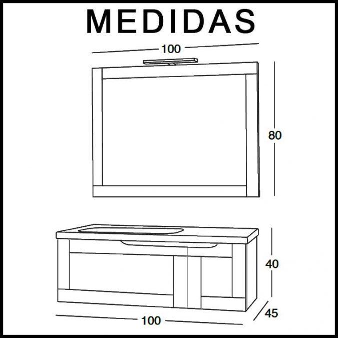 Mueble de Baño Adriana 100 cm. Medidas