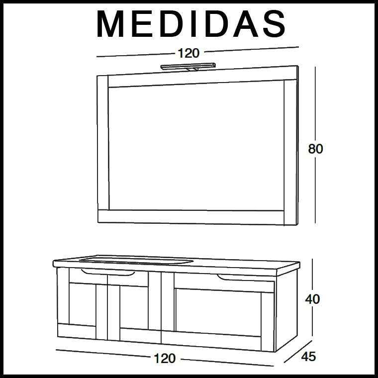 Mueble de Baño Adriana 120 cm. Medidas