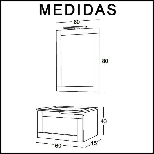 Mueble de Baño Adriana 60 cm. Medidas