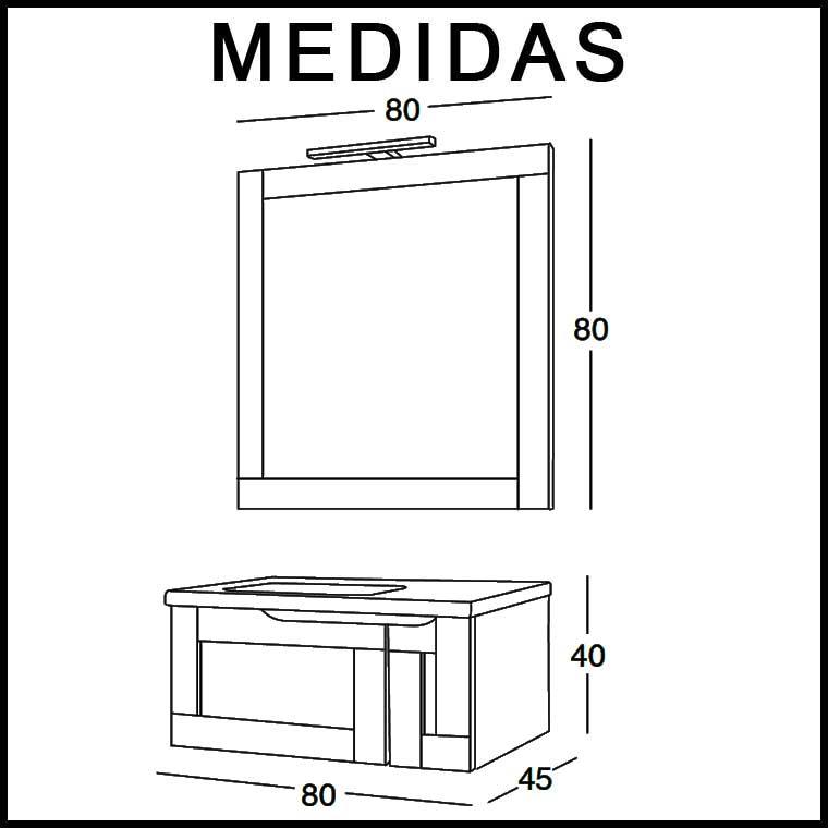 Mueble de Baño Adriana 80 cm. Medidas
