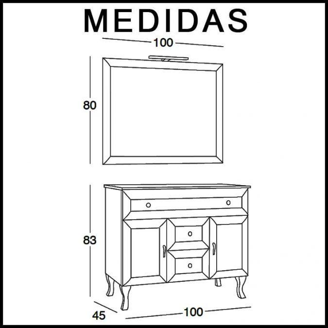 Medidas Mueble de Baño Alessia 100 cm.