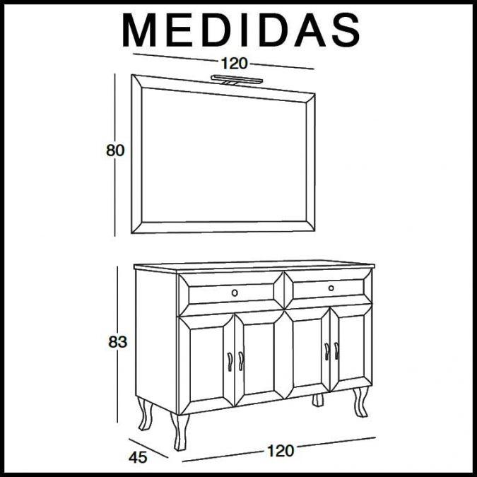 Medidas Mueble de Baño Alessia 120 cm.