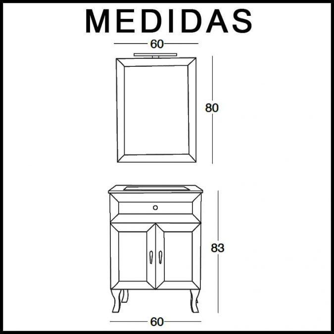Medidas Mueble de Baño Alessia 60 cm.