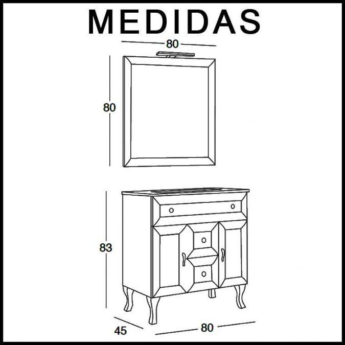 Medidas Mueble de Baño Alessia 80 cm.