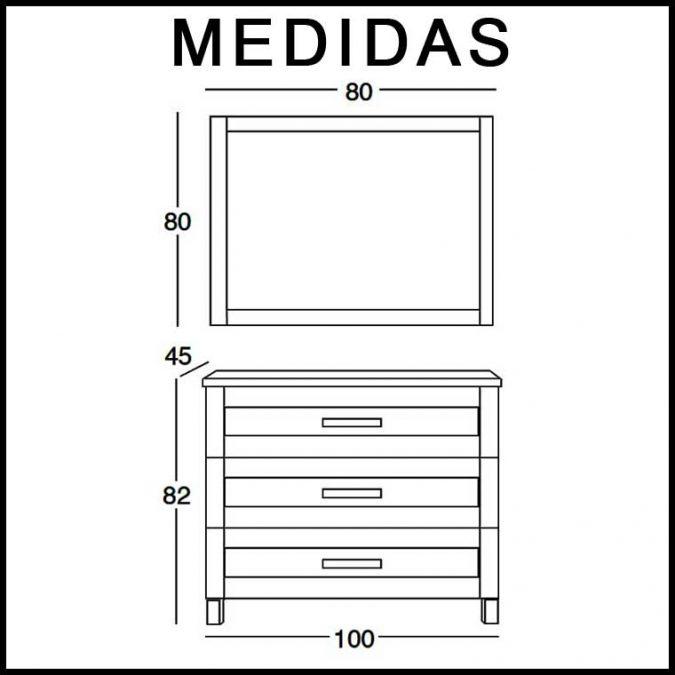 Medidas Mueble de Baño Amaya de 100 cm.