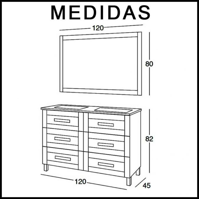 Medidas Mueble de Baño Amaya de 120 cm.