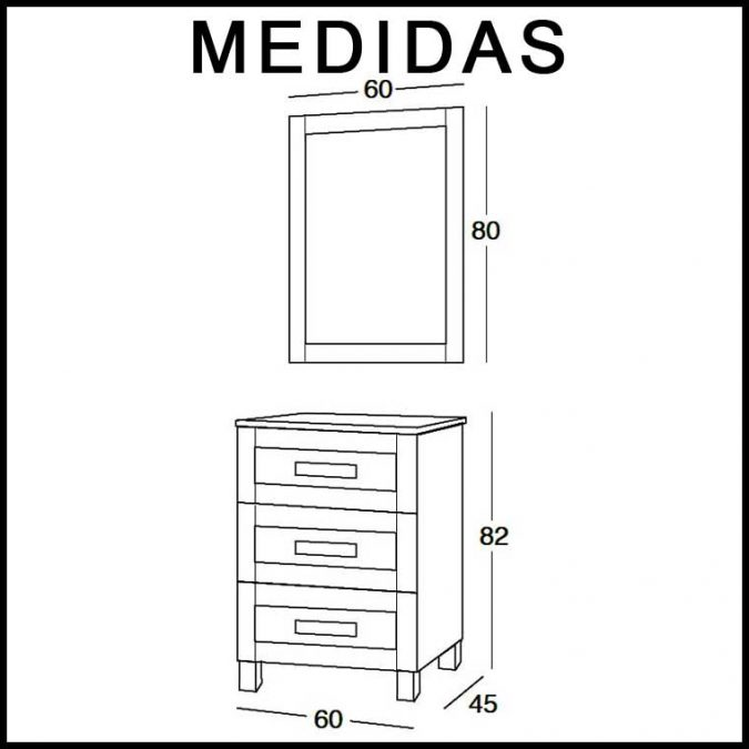 Medidas Mueble de Baño Amaya de 60 cm.