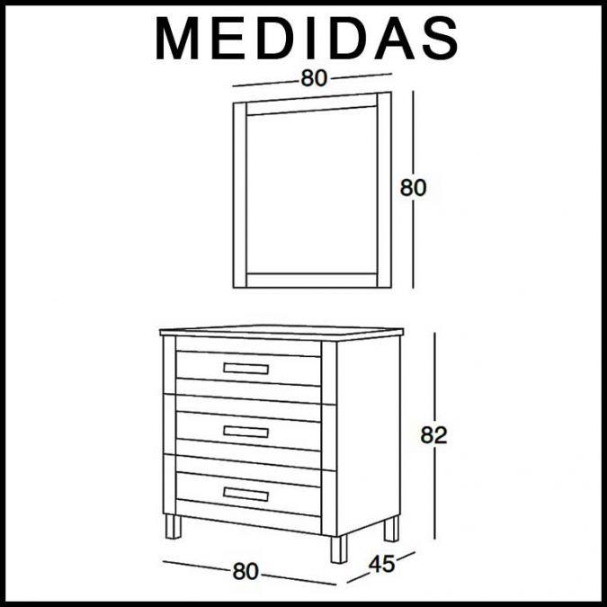 Medidas Mueble de Baño Amaya de 80 cm.
