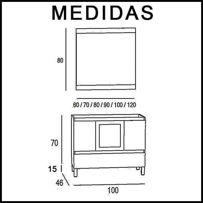 Medidas Mueble de Baño Aras 100 cm.