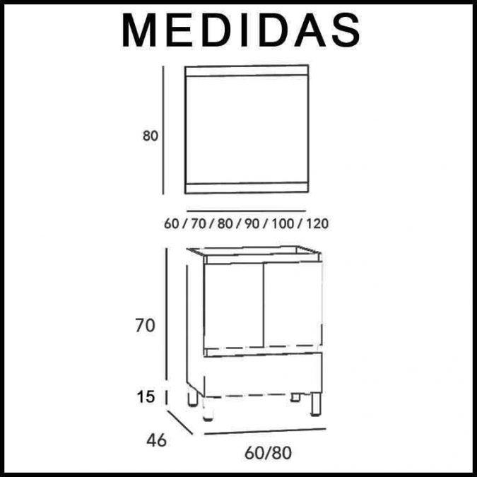 Medidas Mueble de Baño Aras 80 cm.