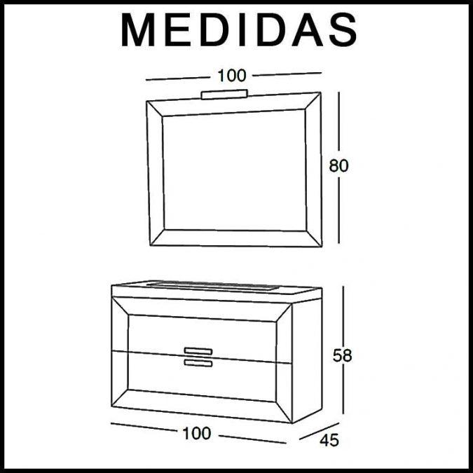 Medidas Mueble de Baño Carla de 100 cm.