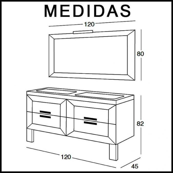 Medidas Mueble de Baño Carla de 120 cm.