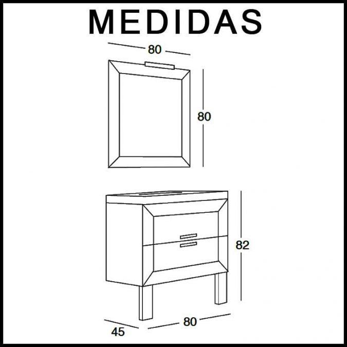 Medidas Mueble de Baño Carla de 80 cm.