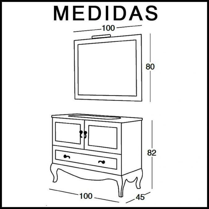 Medidas Mueble de Baño Estefanía 100 cm.