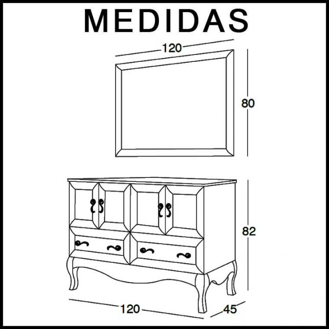 Medidas Mueble de Baño Estefanía 120 cm.