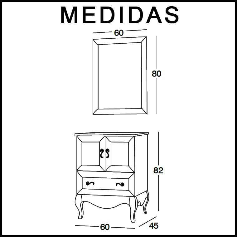 Medidas Mueble de Baño Estefanía 60 cm.