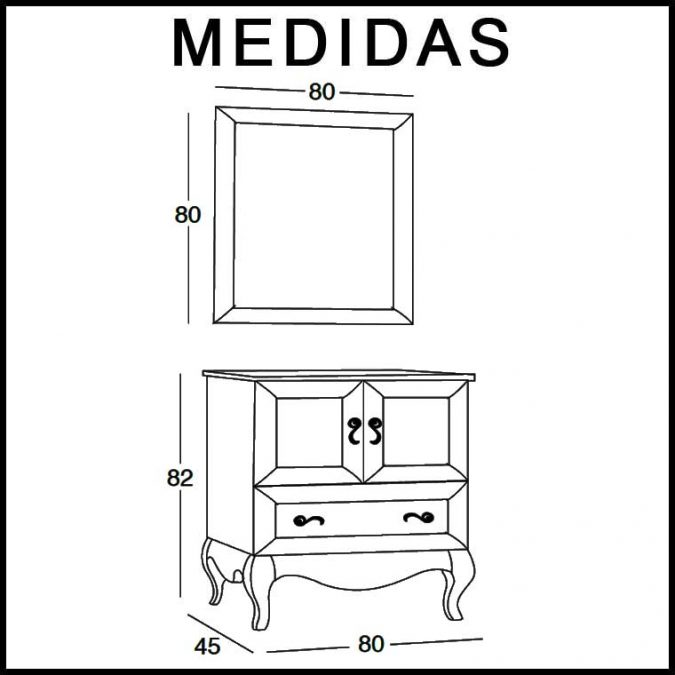 Medidas Mueble de Baño Estefanía 80 cm.