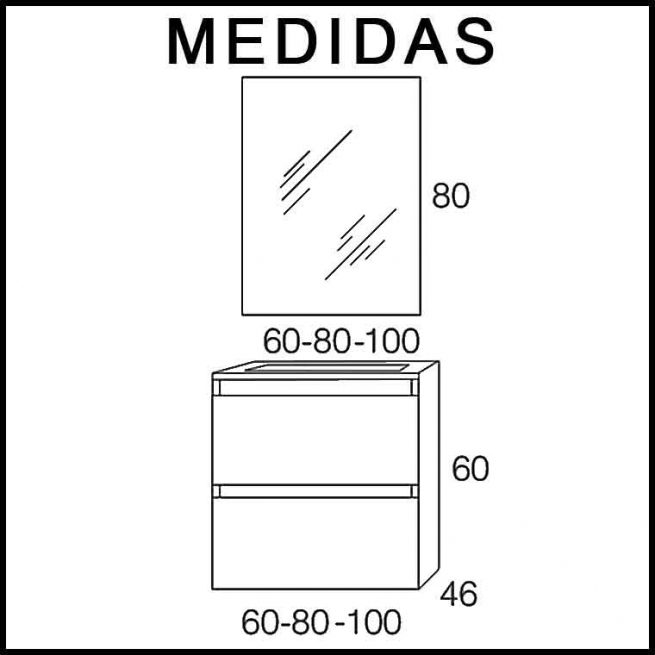 Medidas Muebles de Baño Kloe Expres. Entrega Inmediata